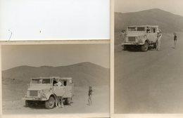 2 Photos 14 X 9 Cms. Véhicule Camion 4x4 Dans Le Désert.  Immatriculé 6848 QJ 45. - Cars