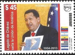 J) 2013 URUGUAY, LEGADO CHAVEZ, SERIES OF THE UNION OF AMERICA, PROCERES Y LEADERS, AMERICA UPAEP, MNH - Uruguay