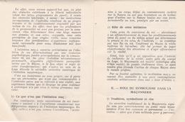 FRANC-MACONNERIE   -  Role Du Symbolisme Dans L'Initiation Maçonnique  -  Manuel De 8 Pages - Filosofia & Pensatori
