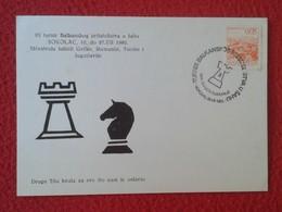 POSTAL POST CARD AJEDREZ CHESS Échecs SCHACH XADREZ SAKK PIEZA PIECE YUGOSLAVIA JUGOSLAVIJA PIECES PIEZAS SOKOLAC 1980 - Postales