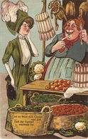 """Ladies Joking At The Fruit Market"" Humorous Antique German Postcard - Humor"