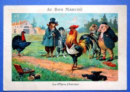 CHROMO AU BON MARCHE.....15 / 21.5  Cm.......ANIMAUX HUMANISES .....UNE AFFAIRE D'HONNEUR - Au Bon Marché