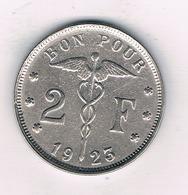 2 FRANCS 1923 FR  BELGIE /5363/ - 1909-1934: Albert I