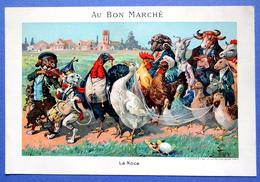 CHROMO AU BON MARCHE.....15 / 21.5  Cm.......ANIMAUX HUMANISES .....LA NOCE - Au Bon Marché