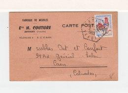 Sur Carte Fabrique De Meubles Ets H. Couture Vendée Pour Caen CAD Hexagonal Tireté Antigny Vendée 1965. (2435x) - Marcophilie (Lettres)