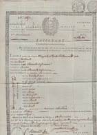 """PASSEPORT : DE LA VILLE DE """" DE SAINTES """" . POUR L'AUTORISATION A Mr BREMOND D'ARS DE SE RENDRE A PARIS . 1805 . - Documents"""