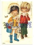 Couple D'enfants, Petit Chien, Houx. Signée Dobon - Illustrateurs & Photographes