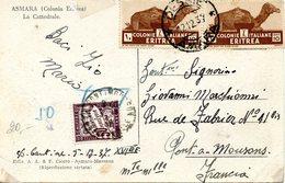 Carte D'Asmara (Erythrée Italenne) Taxée Par Un Timbre Taxe à 50 C, Atée Du 12/12/1937 - Frankrijk