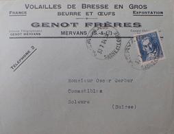 """DF40266/306 - N°295 Seul Sur ✉️ Avec PUBLICITE """" GENOT Frères à Mervans (S Et L) Du 30/07/1934 - VOLAILLES DE BRESSE """" - Advertising"""