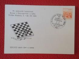 POSTAL POST CARD AJEDREZ CHESS Échecs SCHACH XADREZ SAKK PIEZA PIECE YUGOSLAVIA JUGOSLAVIJA PIECES VIELIKA KLADUSA 1980 - Postales