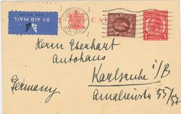 Ganzsache London Luftpost Nach Karlsruhe 1936 - 1902-1951 (Kings)