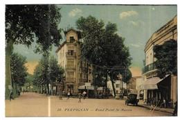 Perpignan Grand Café Du Centre Rond Point St-Marin Carte Colorisée - Perpignan
