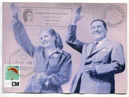 "JUAN DOMINGO PERON Y EVITA EVA DUARTE ARGENTINA TARJETA CIRCULADO 2003 OBLITERES DE UNIDAD BASICA ""EVITA CAPITANA"" LILHU - Celebridades"