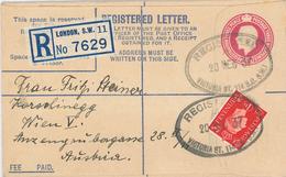 Ganzsache R-Brief London S.W. 1937 Victoria Station Nach Wien - 1902-1951 (Könige)