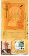 "EVITA EVA DUARTE DE PERON. ARGENTINA TARJETA CIRCULADO 2003 OBLITERES DE UNIDAD BASICA ""EVITA CAPITANA"" LILHU - Mujeres Famosas"