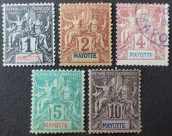 DF40266/312 - 1892 - COLONIES FR. - MAYOTTE (Archipel Des Comores) N°1 à 5 ☉/(*) - Unused Stamps