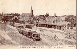 60. CPA. SAINT JUST EN CHAUSSEE.  La Gare, Les Quais, Train à L'arrêt, Vue Intérieure. 1918. - Saint Just En Chaussee