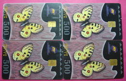 Macedonia Lot Of 4 CHIP Phone CARDS 500 Units Used Operator MT *Butterfly* - Macédoine
