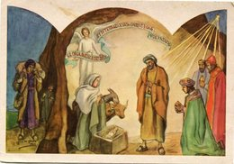 """""""NACIMIENTO"""" JOSE DE JESUS PINTOR SIN MANOS. TARJETA DE NAVIDAD CHRISTMAS CARD CIRCA 1965 - LILHU - Navidad"""
