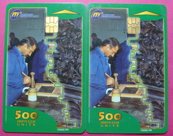 Macedonia Lot Of 2 CHIP Phone CARDS 500 Units Used Operator MT *Wood Carver* - Macédoine