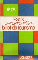 """PARIS Avec Le """"BILLET DE TOURISME"""" - PLAN DE RÉSEAU  - RATP - Europe"""