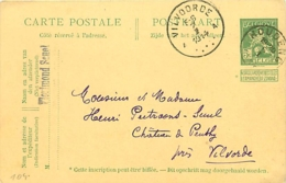 Belgique. CP 44  Houdeng  > Peuthy Vilvoorde  1914 - Marcophilie