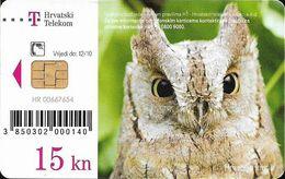 Croatia - Hrvatski Telekom - Croatian Fauna - Čuk (Otus Scops), Owl, - Exp. 12.2010, 100.000ex, Used - Croatia