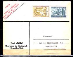 Belgique 1952, Léonard II, Exportation Sidérurgie Sur Lettre Bruxelles-Marcinelle - Belgium
