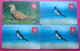 Slovenia Lot Of 4 Different Prepaid Phone CARDS Used Operator MOBI *Birds* - Slovenia