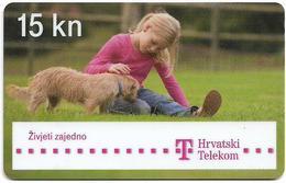 Croatia - Hrvatski Telekom - Little Girl With Puppy Dog - Exp. 12.2014, Used - Croatia