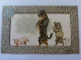 CPA Animal Humanisé Position Humaine Chien Dog Promenant Un Cochon En Laisse Porc Pig Illustrateur (2 Scans) - Hunde