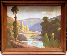 TABLEAU * LES GORGES DE L'AGOUT à BURLATS * Par Louis  CROS En 1931 - Oelbilder