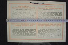 POSTER CARTELLO AVVISO AFRICA ORIENTALE A.O.I. COLONIE ITALIANE 1934 DISPOSIZIONI SULLE DIVISE BANCONOTE MONETE LIRE - Documenti Storici