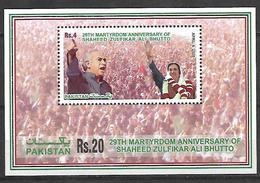 PAKISTAN 2008 SOUVENIR SHEET 29TH MARTYRDOM ANNIVERSARY OF SHEED BHUTTO FULL SHEET MNH - Pakistan