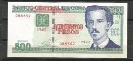 Cuba 2010 $500 Pesos Banknotes UNC - Cuba