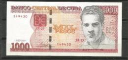 Cuba 2010 $1000 Pesos Banknotes UNC - Cuba