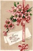 CPA Bonne Année : Fleurs, Ruban - Gaufrée - Flowers