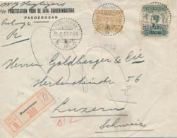 Nederlands Indië - 1927 - 32,5 Op 50 Cent Wilhelmina + 7,5 Cent Op R-Business Cover Van LB Pasoeroean Naar Luzern - Niederländisch-Indien