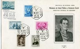DIA DE LA ARMADA NACIONAL, ARGENTINA 1963, LOTE 5 TARJETAS Y 1 VOLANTE OBLITERES FDC DIA DE EMISION - LILHU - Militares