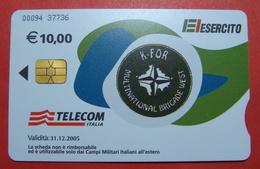 Serie 00094-37..., Italian Army In Kosovo Chip Phone CARD 10 Euro Used Operator TELECOM ITALIA *M. B. WEST KFOR* - Kosovo