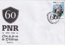 2019-FDC-6 CUBA 2019 FDC 60 ANIV PNR POLICIA POLICE MOTO - FDC