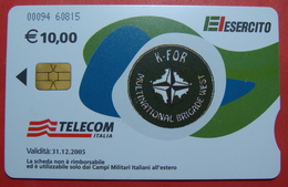 Serie 00094-60..., Italian Army In Kosovo Chip Phone CARD 10 Euro Used Operator TELECOM ITALIA *M. B. WEST KFOR* - Kosovo