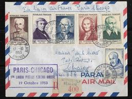 Lettre Recommandée France -Chicago USA  Avec Cachet Première Liaison Postale Aérienne Directe  TBE - Frankrijk