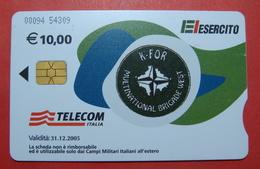 Serie 00094-54..., Italian Army In Kosovo Chip Phone CARD 10 Euro Used Operator TELECOM ITALIA *M. B. WEST KFOR* - Kosovo