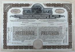BON-347 CUBA SPAIN 1927 BONO ACCION FERROCARRIL CONSOLIDADOS. 23x33,5cm RAILROAD. - Railway & Tramway