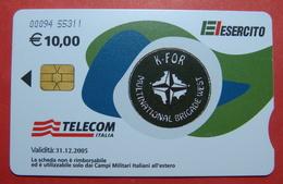 Serie 00094-55..., Italian Army In Kosovo Chip Phone CARD 10 Euro Used Operator TELECOM ITALIA *M. B. WEST KFOR* - Kosovo