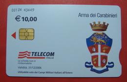 Serie 00104-43 Italian Army In Kosovo & Iraq Chip Phone CARD 10 Euro Used Operator TELECOM ITALIA *Arma Dei Carabinieri* - Kosovo