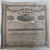 BON-351 CUBA SPAIN ACCION BANCO DE SAN CARLOS DE MATANZAS 1867 35x35 Cm - Bank & Insurance