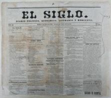 BP308 CUBA SPAIN 1862 PERIODICO EL SIGLO OLD COMPLETE NEWSPAPER 31x35cm. - Books, Magazines, Comics