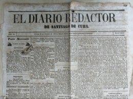BP309 CUBA SPAIN 1862 PERIODICO EL REDACTOR SANTIAGO DE CUBA COMPLETE NEWSPAPER 53x38cm. - Livres, BD, Revues